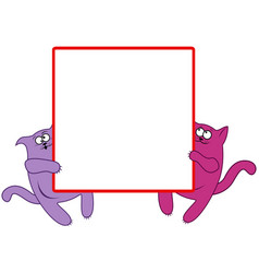 Funny cats with large square banner vector