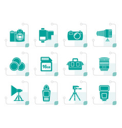Stylized photography equipment and tools icons vector