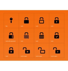 Locks icons on orange background vector