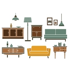Furniture and interior accessories in flat style vector