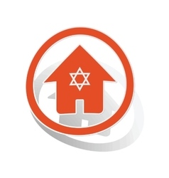 Jewish house sign sticker orange vector