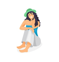 Relaxing woman in hat vector