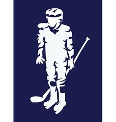 Hockey player mascot silhouette vector