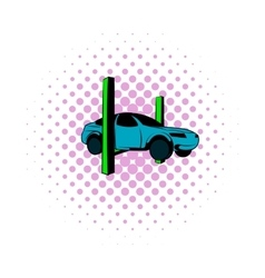 Car on the lift comics icon vector