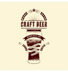 Craft beer label vintage grunge beer poster vector