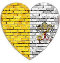 Flag of vatican city on a brick wall in heart vector