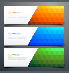 Abstract colorful banners set with triangle vector
