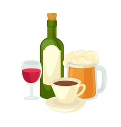 Alcohol drinks wineglass bottle of wine and glass vector