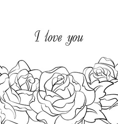 black and white roses card vector image