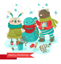 Cartoon rabbit and bear making snowman vector