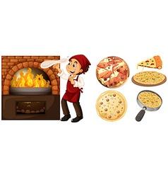 Chef making pizza at hot stove vector image vector image