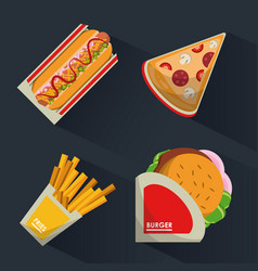 Colorful background with fast foods burguer and vector