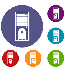 computer system unit icons set vector image vector image