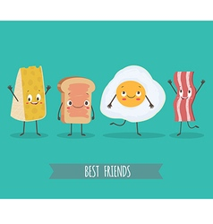 Cute characters chees bread egg and bacon vector image vector image
