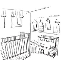 Drawn children room furniture sketch baby bed vector