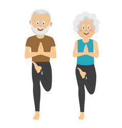elderly people doing exercises vector image vector image