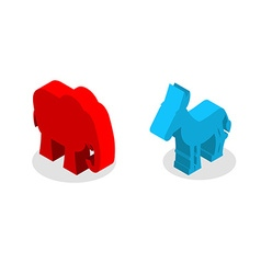 Elephant and Donkey isometrics Symbols of USA vector image