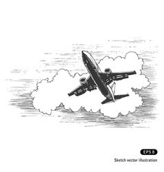 Flying plane against a cloud vector image