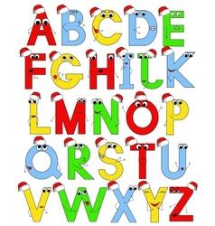funny latin alphabet in santa caps vector image