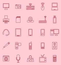 Gadget line icons on pink background vector