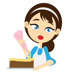 Girl decorating cake vector