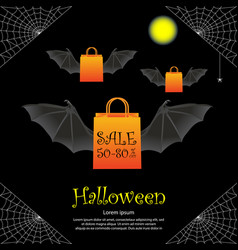 Halloween sale banner template vector