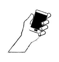 Hand holding phone icon image vector