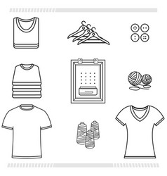 icons set clothing shirt editable outline vector image vector image