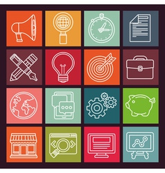 internet marketing icons in flat outline style vector image vector image