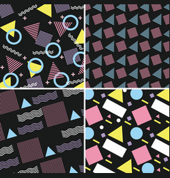 memphis pattern retro set geometric design vector image