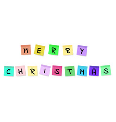 merry christmas - colorful sticky notes vector image vector image