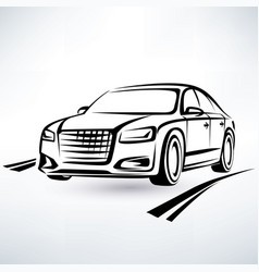 modern luxury car symbol outlined sketch vector image vector image