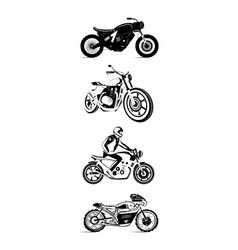 moto bike icon set cafe racer vector image