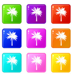 Palm icons 9 set vector