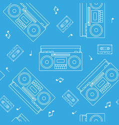retro cassette and radio recorder seamless pattern vector image