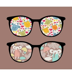 Retro sunglasses with cartoons reflection in it vector image