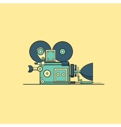Retro vintage cinema film camera lineart vector image vector image