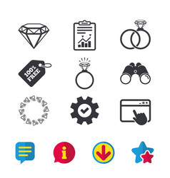 Rings icons jewelry with diamond signs vector