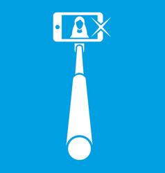 Selfie stick with mobile phone icon white vector