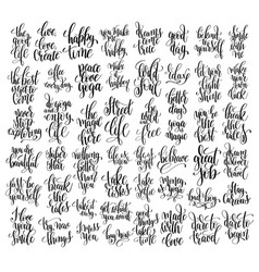 set of 50 black and white hand lettering vector image