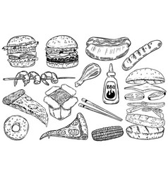 Set of hand drawn fast food burger pizza hot dog vector