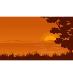 Silhouette of lake and tree landscape vector