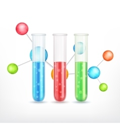 Test-tube with molecule vector image vector image