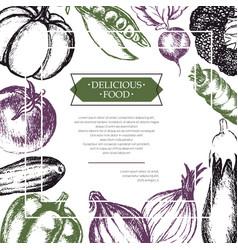 Vegetables - color hand drawn composite flyer vector
