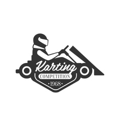 Karting Club Event Promo Black And White Logo vector image
