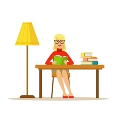 Woman Reading Book At The Desk With The Lamp vector image