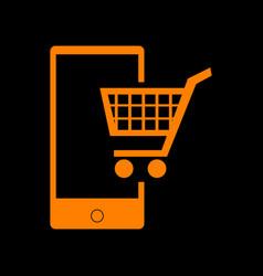 Shopping on smart phone sign orange icon on black vector