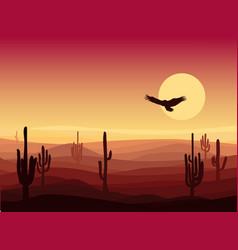 Hot sand desert landscape background vector