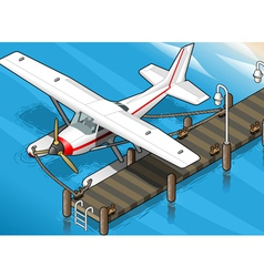 Isometric seaplane moored at the pier in front vector