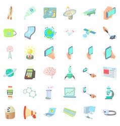 Communication icons set cartoon style vector